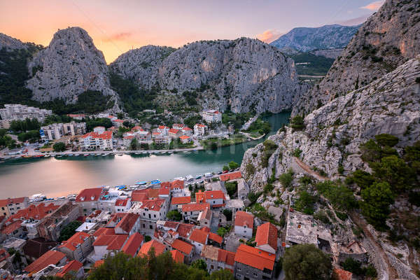 Aerial View on Omis Old Town and Cetina River Gorge, Dalmatia, C Stock photo © anshar