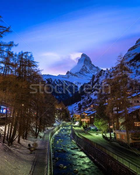Сток-фото: лыжных · курорта · вечер · Швейцария · город