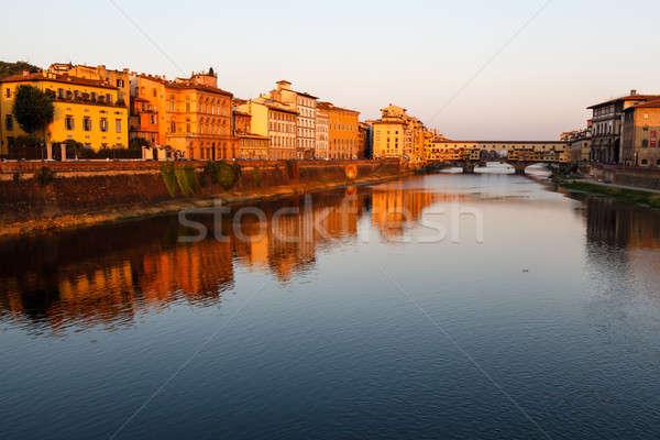 Stock fotó: Híd · folyó · Florence · reggel · Olaszország · égbolt