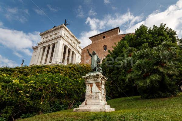 Statue of Cola di Rienzo and Santa Maria in Aracoeli Basilica on Stock photo © anshar