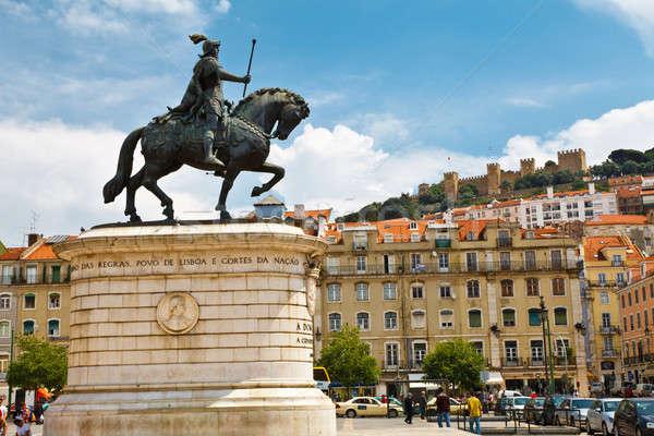Estátua rei central praça Lisboa Portugal Foto stock © anshar