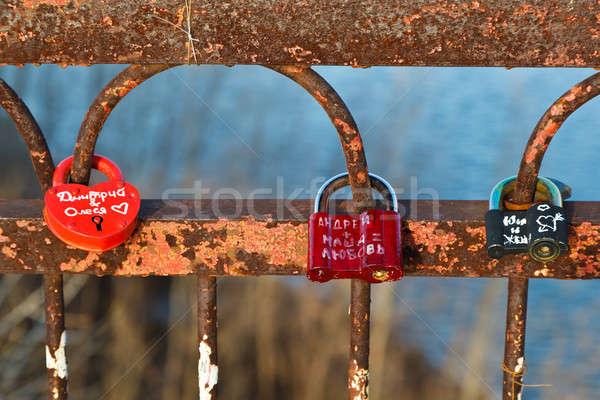 Love Locks on the Rusty Bridge across Volga River near Samara, R Stock photo © anshar