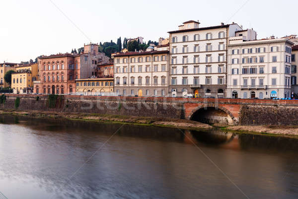 Arno River Embankment in the Early Morning Light, Florence, Ital Stock photo © anshar