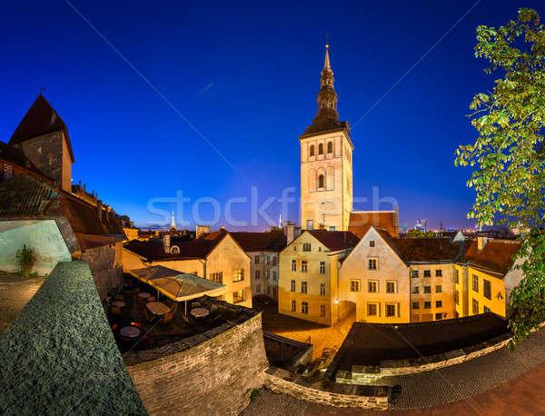 Evening View of Old Town and Saint Nicholas (Niguliste) Church i Stock photo © anshar