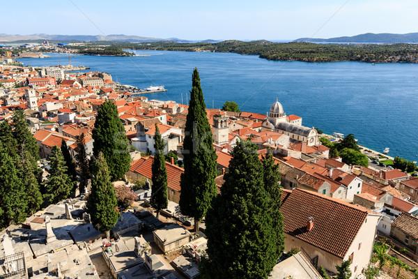 Panoramic View on Saint James Cathedral and City of Sibenik, Cro Stock photo © anshar