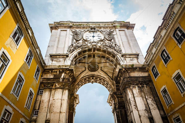 Rue Augusta Arch on Commerce Square in  Lisboa, Portugal Stock photo © anshar