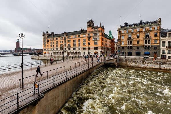Stromgatan Street and Riksgatan Bridge in Stockholm, Sweden Stock photo © anshar