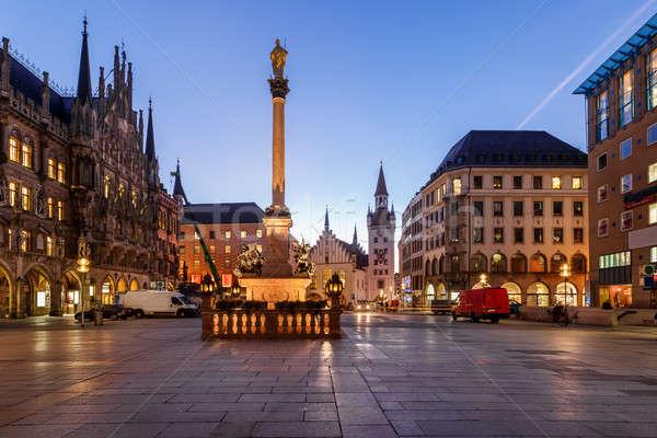 Old Town Hall and Marienplatz in the Morning, Munich, Bavaria, G Stock photo © anshar