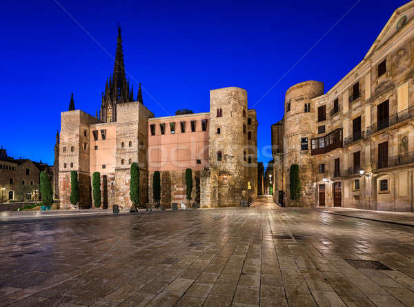 Ancient Roman Gate and Placa Nova in the Morning, Barcelona, Cat Stock photo © anshar