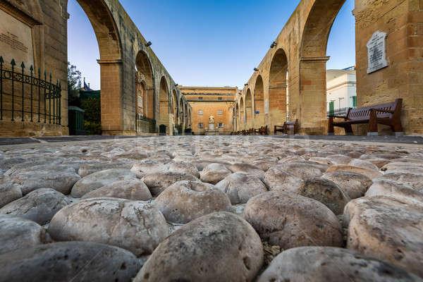 Cobbled Walkway in Upper Barrakka Gardens in Valletta, Malta Stock photo © anshar