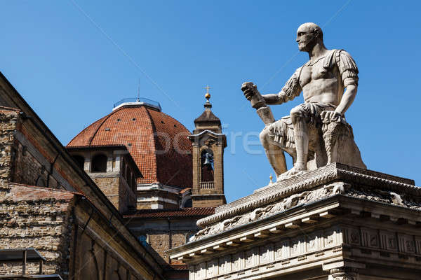 Statue of Giovanni delle Bande Nere at Piazza San Lorenzo by Bac Stock photo © anshar
