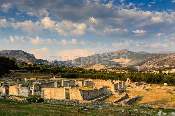 Ruins of Ancient Town of Salona and Distant Mountains near Split Stock photo © anshar