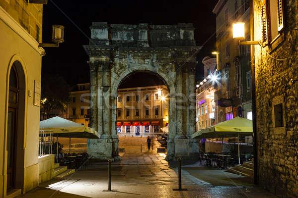 Golden Gate (Sergius Arch) in Pula at Night, Croatia Stock photo © anshar