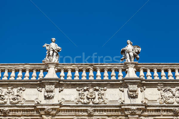 Piazza delle Erbe and Statues in Verona, Veneto, Italy Stock photo © anshar