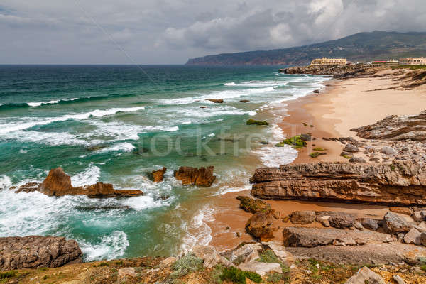Guincho Beach on Atlantic Ocean in Stormy Weather near Lisbon, P Stock photo © anshar