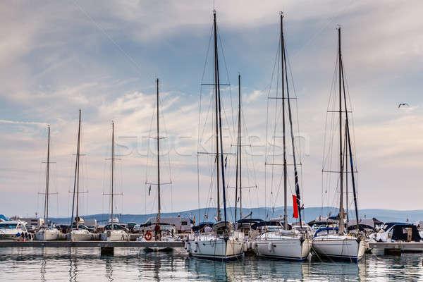 Tengerészeti marina Horvátország égbolt víz természet Stock fotó © anshar