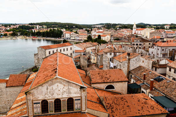 Panoramic View on Red Roofs of Porec, Croatia Stock photo © anshar