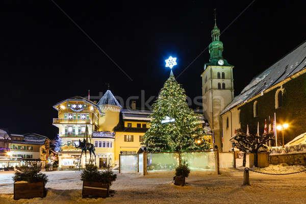 Illuminated Central Square of Megeve on Christmas Eve, French Al Stock photo © anshar