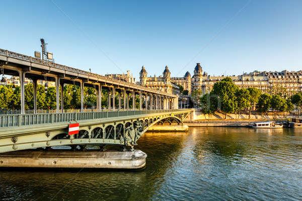ストックフォト: 橋 · 川 · 午前 · パリ · フランス · ツリー