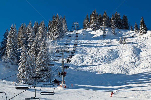 Riding the Chairlift in French Alps Stock photo © anshar