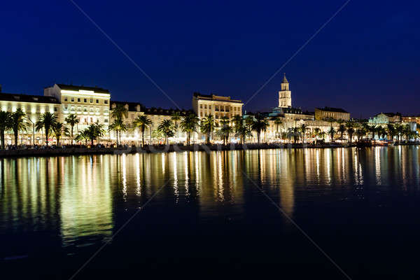 Panorama of Old Town of Split at Night, Croatia Stock photo © anshar
