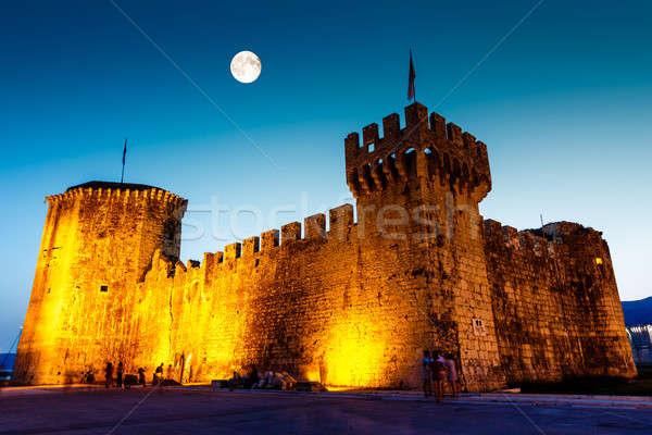 Luna piena sopra medievale castello Croazia cielo Foto d'archivio © anshar