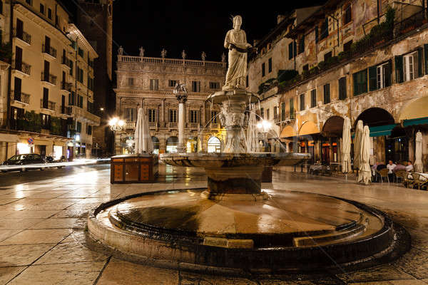 Statue of the Madonna on Piazza delle Erbe at Night, Verona, Ven Stock photo © anshar