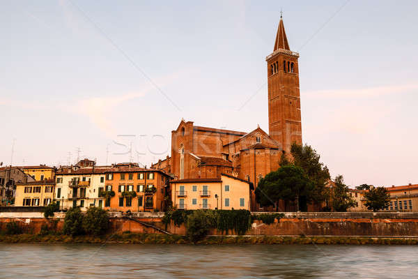 Campanile of Saint Anastasia in Verona at Morning, Veneto, Italy Stock photo © anshar