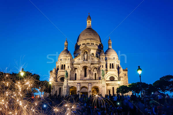 Sacre Coeur Cathedral on Montmartre Hill at Dusk, Paris, France Stock photo © anshar