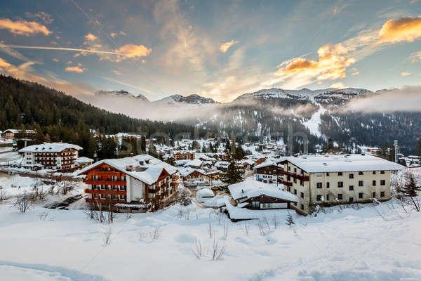 Ski Resort of Madonna di Campiglio in the Morning, Italian Alps, Stock photo © anshar