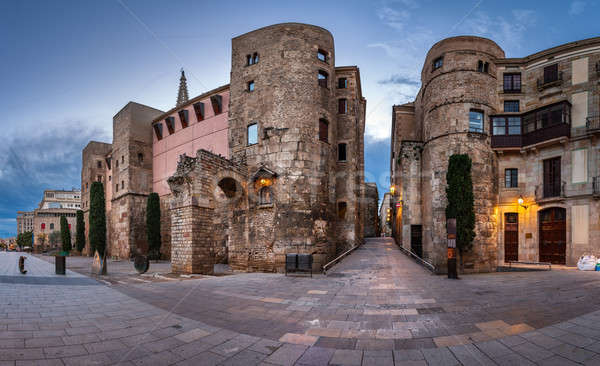 Panorama of Ancient Roman Gate and Placa Nova in the Morning, Ba Stock photo © anshar