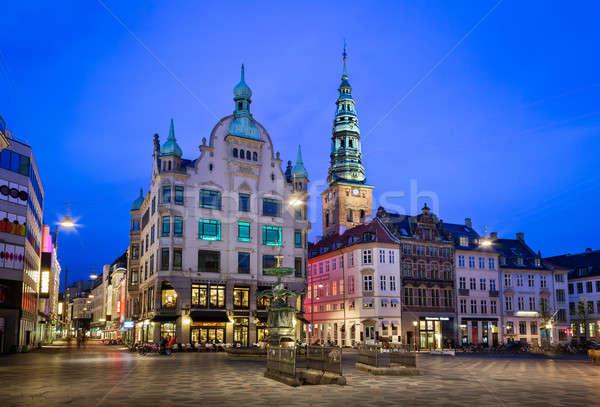 Piazza cicogna fontana città vecchia Copenhagen Danimarca Foto d'archivio © anshar