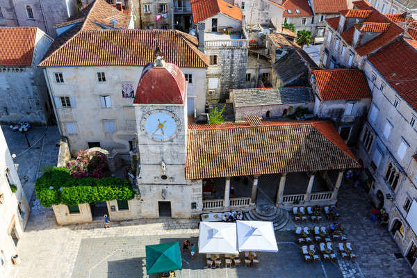 Aerial View on the Main Square of Trogir from Cathedral of Saint Stock photo © anshar