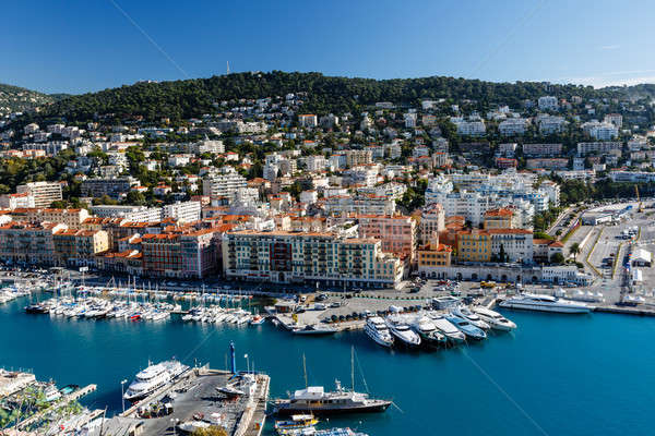 Aerial View on Port of Nice and Luxury Yachts, French Riviera, F Stock photo © anshar