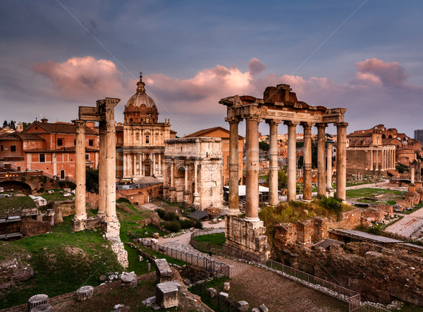 Roman Forum (Foro Romano) and Ruins of Septimius Severus Arch an Stock photo © anshar