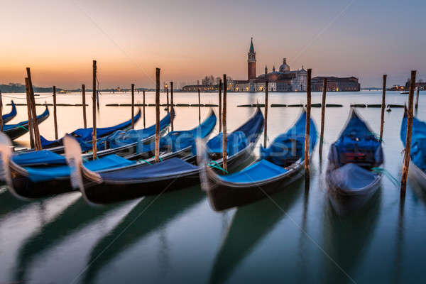Gondolas, Grand Canal and San Giorgio Maggiore Church at Dawn, V Stock photo © anshar