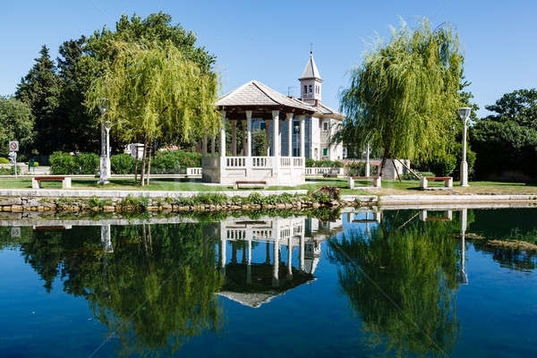 Picturesque Landscape, Church, Pavilion, River and Willow, Solin Stock photo © anshar