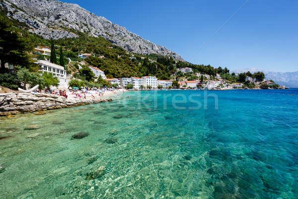 Güzel plaj şeffaf turkuaz deniz ev Stok fotoğraf © anshar