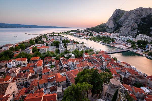 Aerial View on Omis Old Town and Cetina River, Dalmatia, Croatia Stock photo © anshar