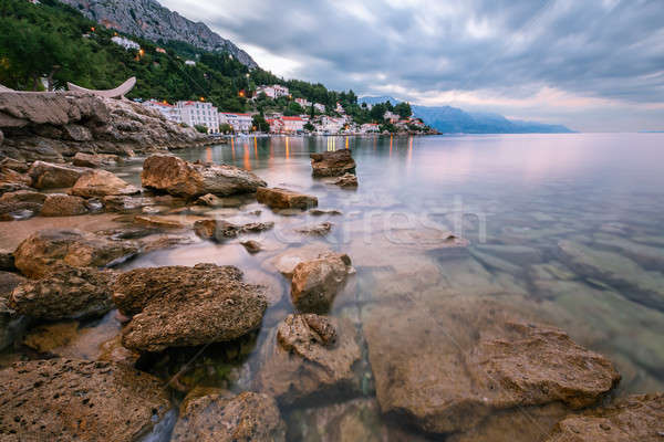 Rocky Beach and Small Village near Omis in the Morning, Dalmatia Stock photo © anshar