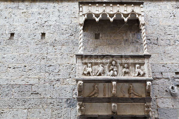 Building with Marble Balcony and Relief in Genoa, Italy Stock photo © anshar