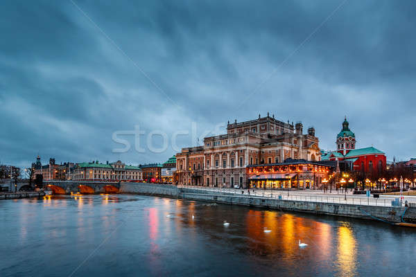 Illuminated Stockholm Royal Opera in the Evening, Sweden Stock photo © anshar