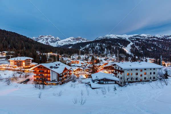 Illuminated Ski Resort of Madonna di Campiglio in the Evening, I Stock photo © anshar