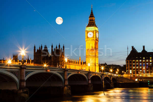 Full Moon above Big Ben and House of Parliament, London, United  Stock photo © anshar