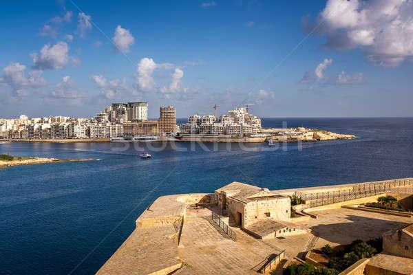 Vista punto distrito Malta playa casa Foto stock © anshar