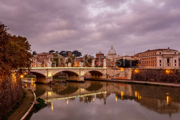 Illuminated Tiber River Embankment and Saint Peter's Cathedral i Stock photo © anshar
