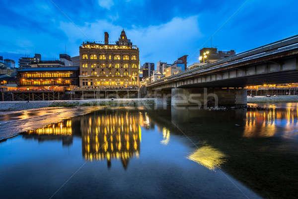 Nehir köprü akşam kyoto Japonya gökyüzü Stok fotoğraf © anshar