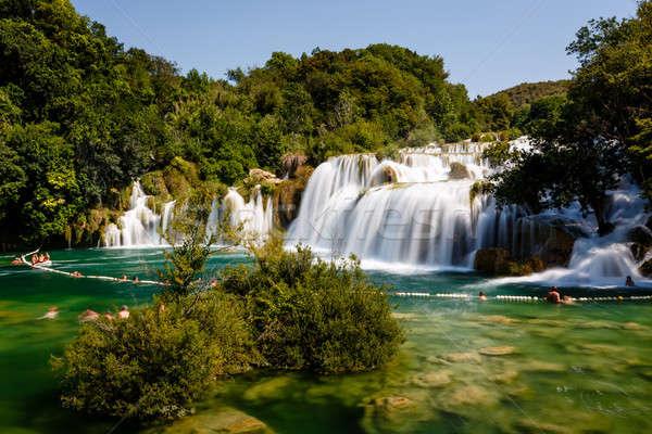 Parku kaskada wodospady rzeki niebo wody Zdjęcia stock © anshar