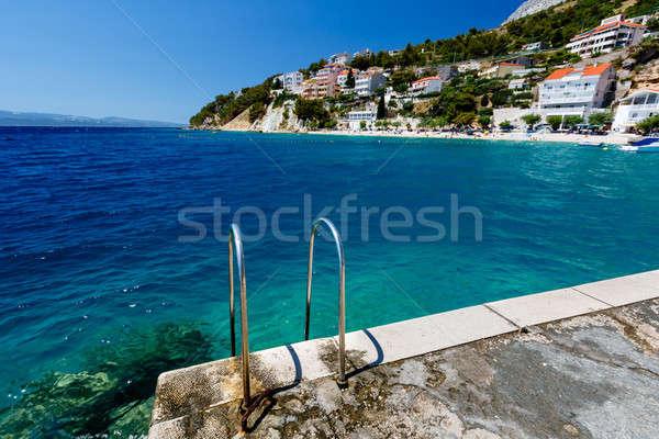 металл лестнице пляж лазурный Средиземное море морем Сток-фото © anshar