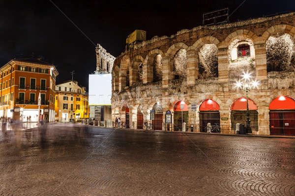 Eski Roma amfitiyatro sutyen verona gece Stok fotoğraf © anshar